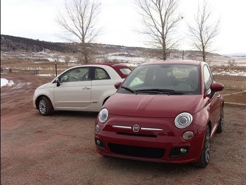 Fiat 500 convertible vs Fiat 500 drag race Mashup Review