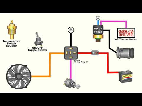 How to wire an electric fan with an AC trinary switch ... A C Trinary Switch Wiring Diagram For Cooling Fan on