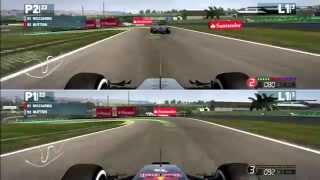 F1 2014 Split Screen Gameplay, Brazil GP | Jenson Button Vs Daniel Ricciardo