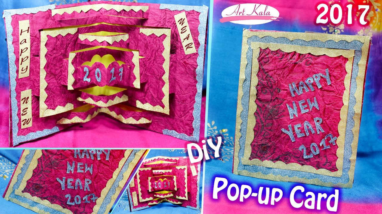 diy 3d christmasnew year pop up card very easy how to make artkala 2017 youtube
