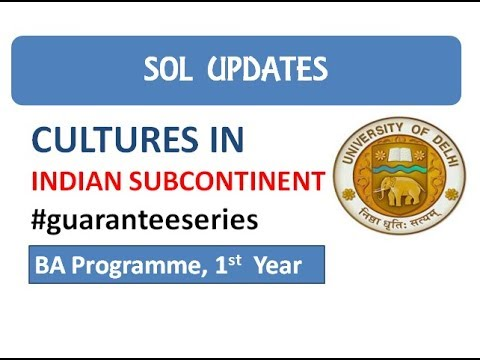 Cultures in Indian Subcontinent I Important Questions I SOL
