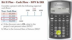 BA II Plus| Cash Flows -Net Present Value (NPV) and IRR Calculations