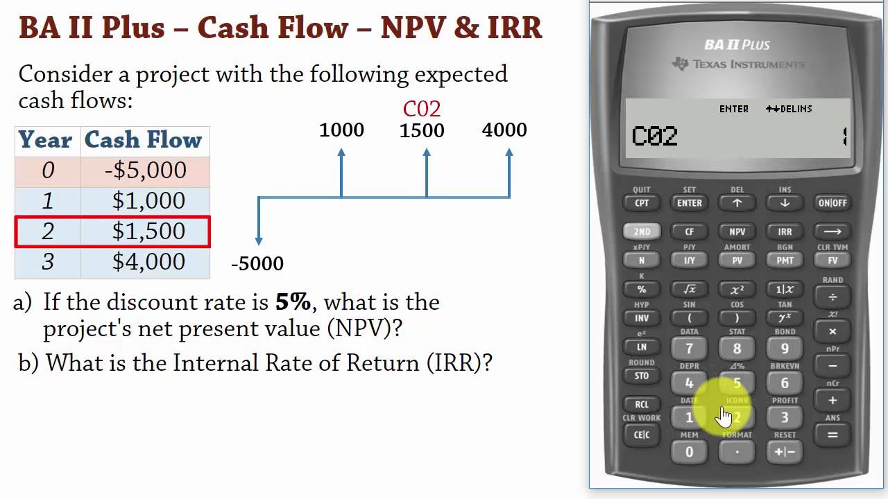 BA II Plus| Cash Flows –Net Present Value (NPV) and IRR Calculations - YouTube