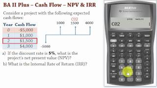 BA II Plus| Cash Flows –Net Present Value (NPV) and IRR Calculations