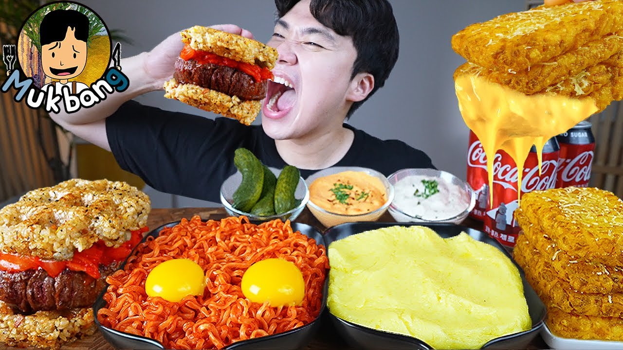 ASMR MUKBANG 햄버거 & 치즈 퐁듀 & 해쉬브라운 FIRE Noodle & HAMBURGER & CHEESE FONDUE EATING SOUND!