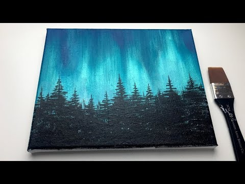 Acrylic Painting For Beginners | Northern Lights Forest | Aurora Acrylic Painting
