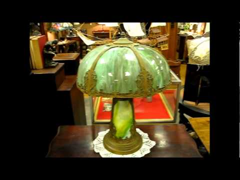 Antique Lamp With Slag Glass Shade And Slag Glass Base.
