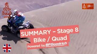 Summary - Bike/Quad - Stage 8 (San Juan de Marcona / Pisco) - Dakar 2019
