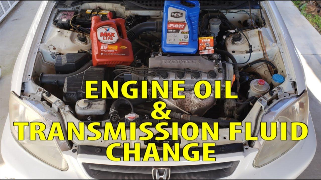 2000 Honda Civic Engine Oil Transmission Fluid Change Youtube