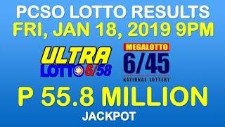 Lotto Result January 18 2019 9pm PCSO (6/58, 6/45, 4-digit, ez2, suertres, stl)