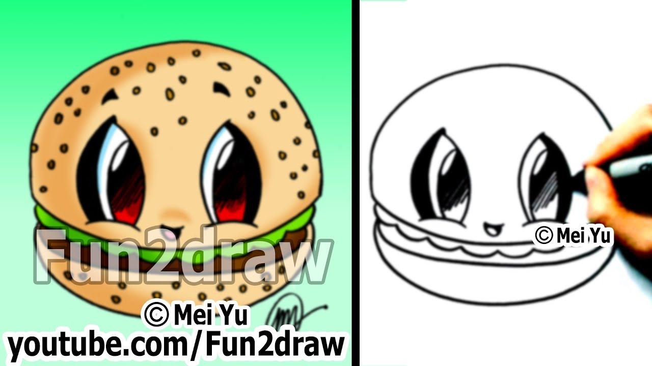 Kawaii - Food Drawing Tutorial - Hamburger - Best Drawing ...