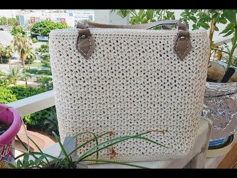 MAKROME İP İLE ÇOK KULLANIŞLI ÇANTA YAPIMI(bag making with macrame rope)