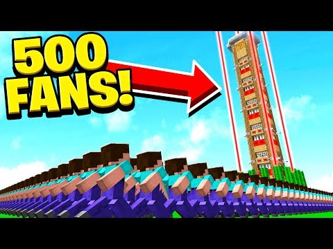 500 FANS vs WORLD'S TALLEST & SAFEST MINECRAFT HOUSE!