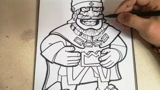 COMO DIBUJAR AL REY AZUL - CLASH ROYALE / how to draw blue king - clash royale