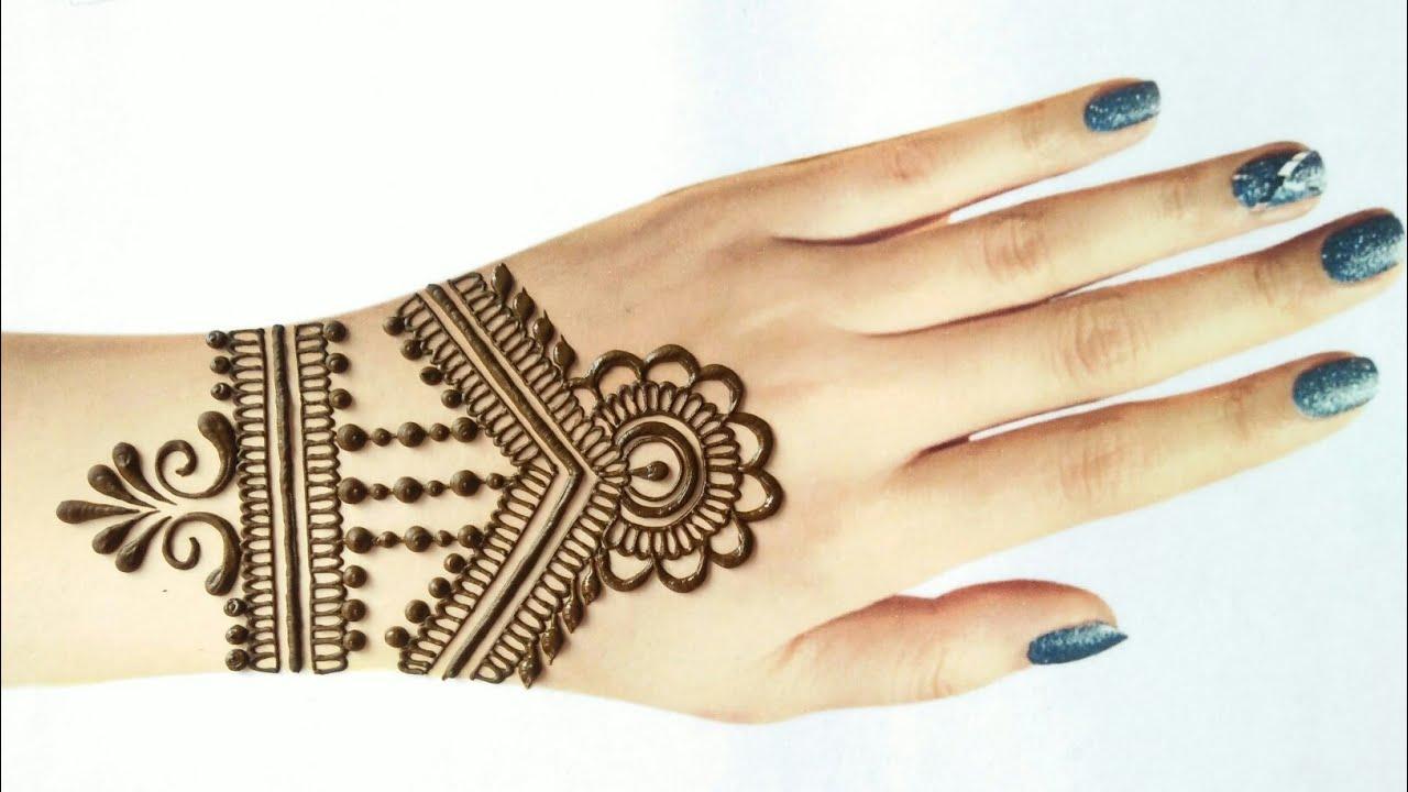 Beautiful arabic style Karwa Chauth mehndi design for back hand   Easy simple gol tikki mehndi