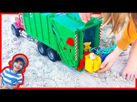 Garbage Truck Videos for Children | Bruder Mac Granite Truck Cleans up the Beach