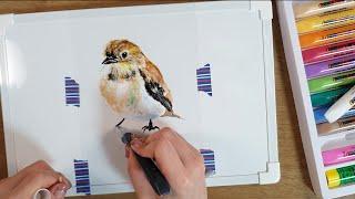 글라스데코로 참새그리기 / Drawing Sparrow…