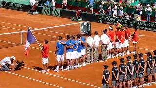 Himnos nacionales Espana/Francia Copa Davis 17.09.2011