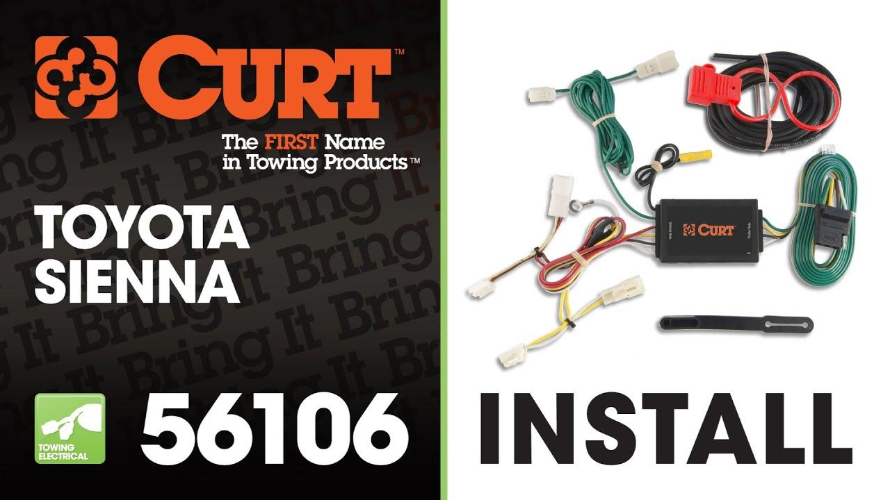 trailer wiring install curt 56106 on 2012 toyota sienna [ 1280 x 720 Pixel ]