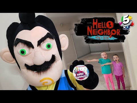 Hello Neighbor in Real Life Scavenger Hunt! 5 Surprise Toy Food vs Real Food Challenge!