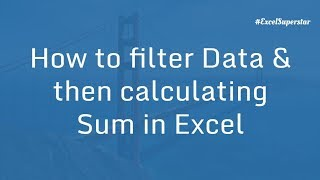 filtering data calculating sum in excel in hindi