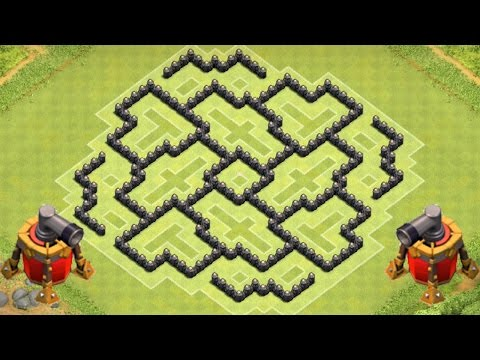Clash of Clans TH8 DEFENSE STRATEGY BEST CoC Town Hall 8 FARMING Layout With Airsweeper Protects D.E