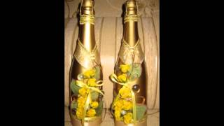 украшенное шампанское на свадьбу