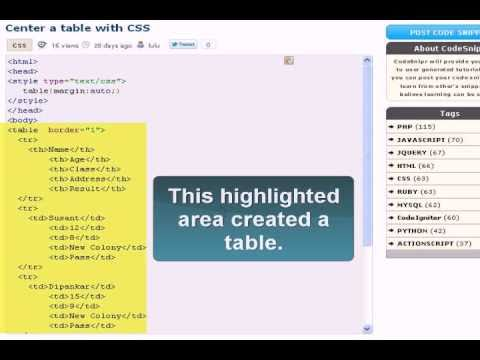 Css tutorial css center a table youtube for Table th center css