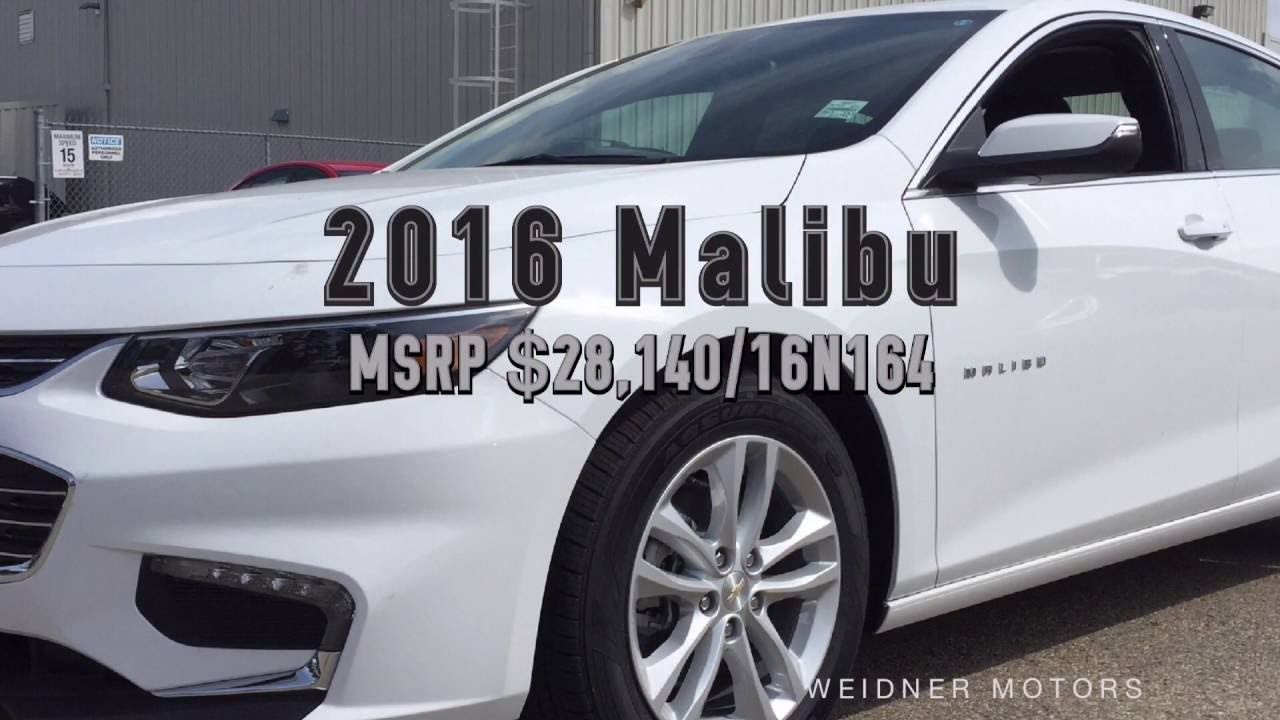 2016 Chevrolet Malibu White NEW / Unit 16n164. Weidner Motors Ltd.