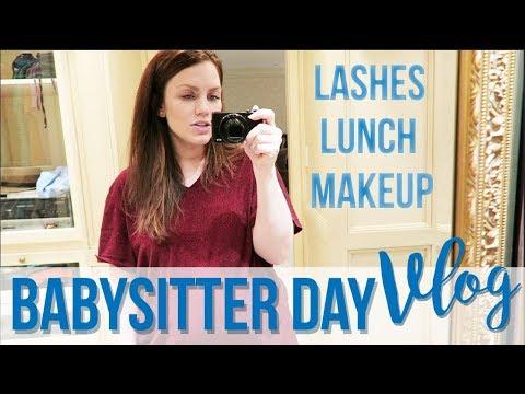 Babysitter Day Vlog!   Lash Extensions, Makeup, Meal Planning!