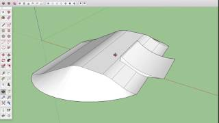 How to draw a 3D model of a snow terrain park jump with Sketchup.
