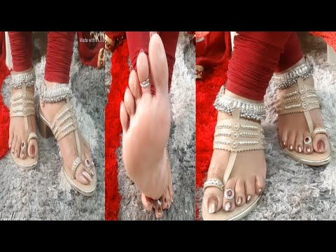 My new //beautiful footwear review //with heavy anklet //golden brown nailpaint colour