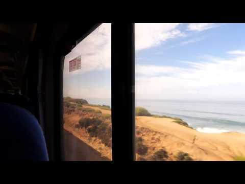Different perspective of the Pacific coastline from the train.