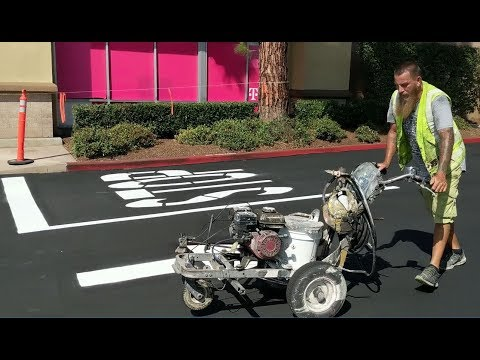 USA - PARKING LOT, STOP, AND HANDICAP LINE PAINTING - GRACO!