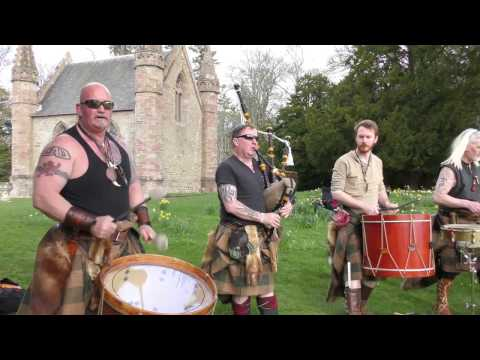 Scottish tribal band Clann an Drumma performing Bloodline album mix at Scone Palace, April 2017
