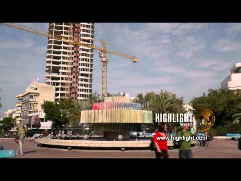 Time Lapse Clip Of Israel: Tel Aviv - Dizengoff Square Zoom Out