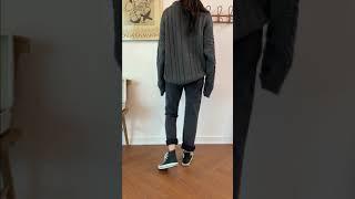 [livewear] 울80 라운드 꽈배기 루즈핏 니트 …