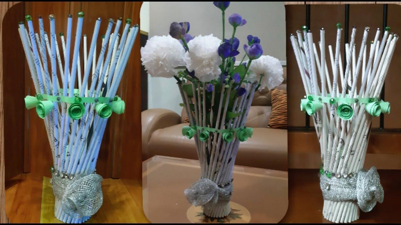 Cara Membuat Vas Bunga Dari Koran Bekas