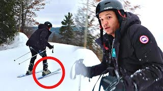 10 YEAR OLD TRIES SKIING FOR THE FIRST TIME!!!! *CRASHES & RAGE QUIT* (WORST DAY OF HIS LIFE)