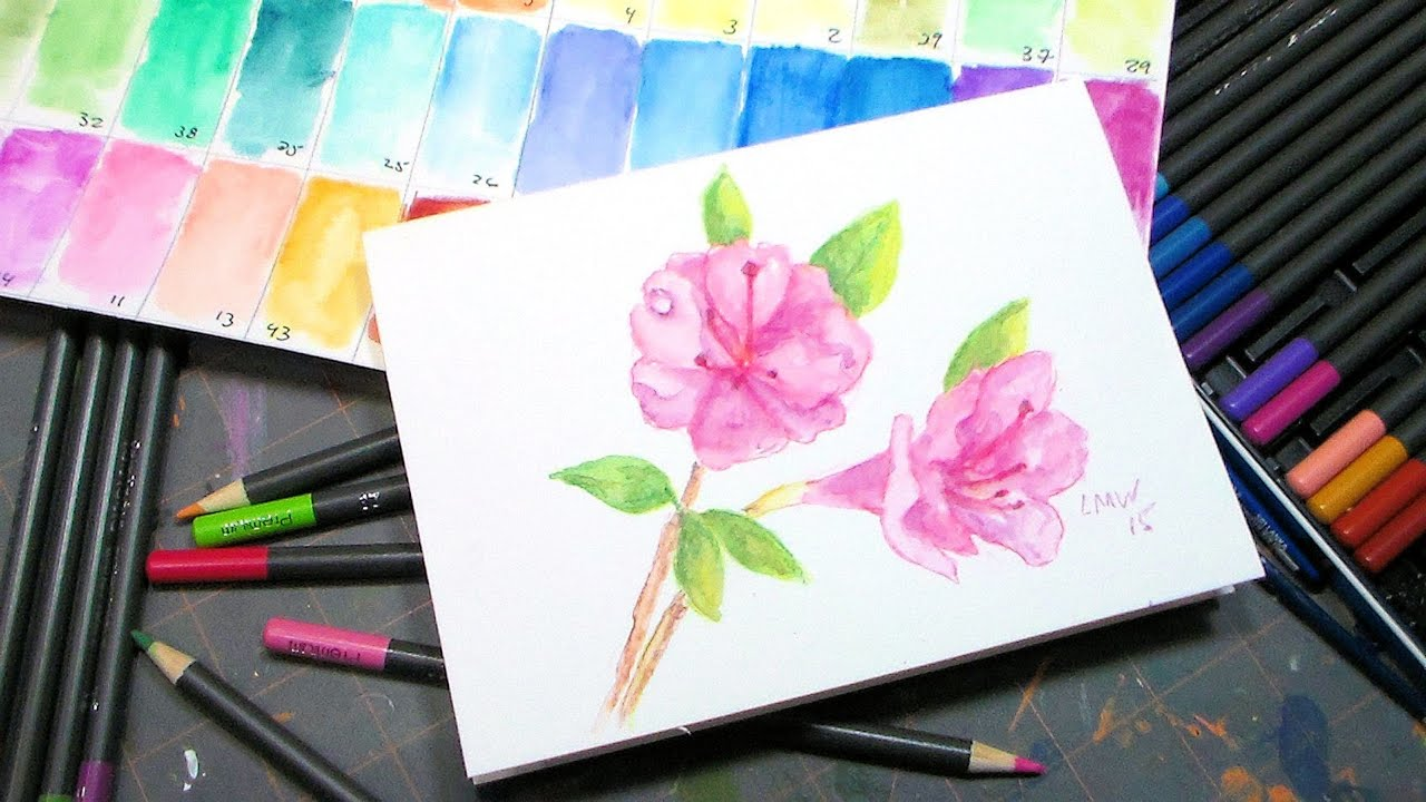 azalia painting tutorial and fantasia watercolor pencil review