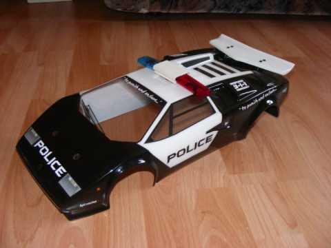 Lamborghini Countach 1 10 Rc Police Car Led Flashlights Youtube