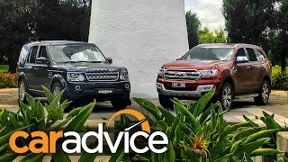2016 Ford Everest/Endeavour Titanium v Land Rover Discovery 4 SDV6 comparison review(https://www.youtube.com/watch?v=ahZQpmSQWME - Watch the Ford Everest take on the Toyota Prado in our video comparison., 2016-01-22T23:44:28.000Z)