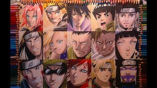 Drawing Naruto Team 7, 8, 9,10 and The Sand Siblings - NARUTO(SHIPPUDEN) speed drawing
