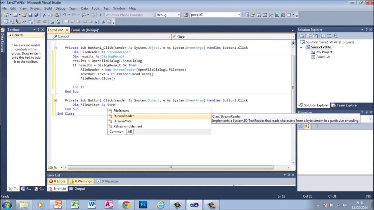 Visual Basic Vb Open Amp Save Reading Amp Writing To Txt