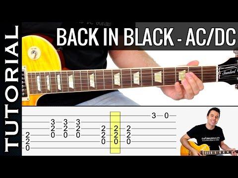 Como tocar Back in Black en guitarra eléctrica AC/DC Tutorial clase fácil COMPLETO