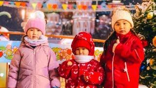 Адека Персик Аминка и Аружка открывают подарки 🎁 Новый Год Москва Красная Полощадь 🎄