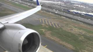 United Airlines 757-200 takeoff from EWR Newark Liberty -  Lie Flat Seats