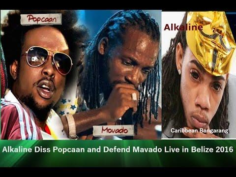 Alkaline Diss Popcaan and Defend Mavado Live Performance in Belize 2016
