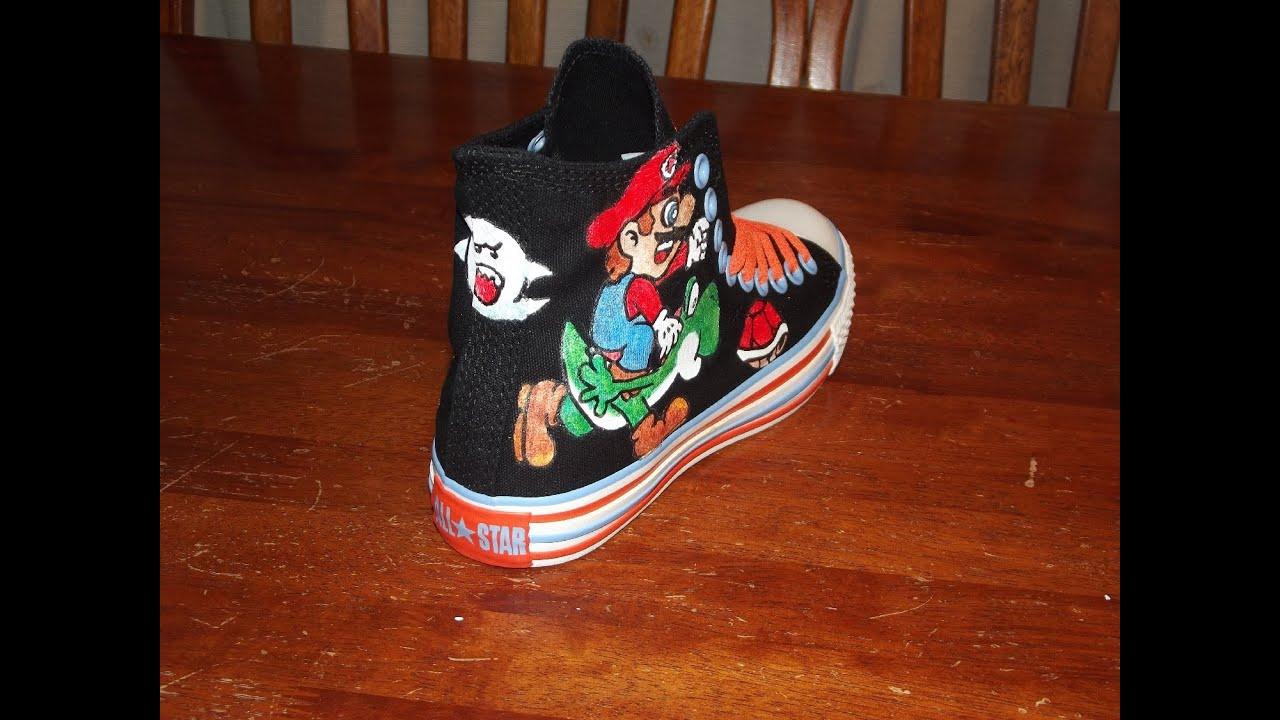 d77d6d5a3ed223 Super Mario Converse Shoes Part 1 (Right Shoe) - YouTube