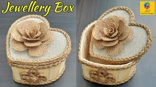 DIY Jewellery Box made from Jute Rope and Popsicle Sticks   Jute Jewellery Box   Pop Stick Crafts